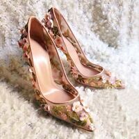 Womens High Heels Pointed Toe Mesh Pumps Wedding Floral Dress Shoes Breatheable