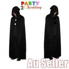 Black Halloween Wizard Vampire Witch Devil Death Cloak Hoody Cape 170cm Costume