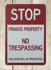 Stop Private Property No Trespassing metal tin sign art posters
