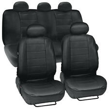Black Leatherette Car Seat Covers Front Rear Full Set Synthetic Leather Auto (Fits: Jaguar)
