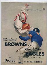 Cleveland Browns vs Philadelphia Eagles Football Program October 10,1953