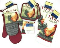 Rooster Potholder Oven Mitt Kitchen Towel Scrubber Dishcloth 8pc Country Set