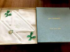 VINTAGE UNUSED BOXED HAND EMBROIDERED IRISH Linen LADIES HANDKERCHIEFS HANKIES