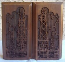 Solid American Walnut Lasercraft laser engraved Towers Bookends Wooden Book Ends