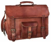 Vintage Men's Cowhide Real Leather Satchel Messenger Shoulder Bag Handbag Brown