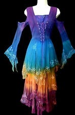 BNWT JORDASH MULTICOLOUR TI DYE CORSET MEDIEVAL FAIRY FESTIVAL DRESS, UK 8,10,12