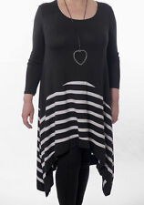 Viscose Long Sleeve Round Neck Striped Dresses for Women