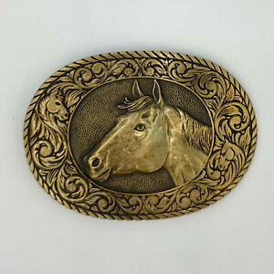 Vintage Award Design Medals ADM Solid Brass Horse Belt Buckle