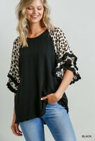 Umgee Black Animal Print Layered Ruffle Bell Sleeve Top Size Small