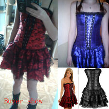 US Women Lace Overbust Steampunk Corset Dress Victorian Bustier Top Party Dress