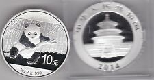 CASED 2014 CHINA SILVER 10 YUAN ONE OUNCE PANDA IN MINT CONDITION