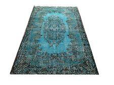 "7'1""x3'6"" Vintage Turquoise blue aqua tapis  oushak overdyed rug carpet  tapis"