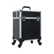 Pro Aluminum Rolling Makeup Case Cosmetic Trolley Beauty BOX On Wheels Black