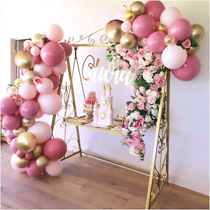 Pink Balloon Arch Garland Kit, 108 Pieces Pink and Gold Latex Balloons. for Baby