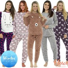 Ladies Fleece Pyjamas Ladies Pyjama Set Womens Pajamas Thermal Long Sleeve PJ'S