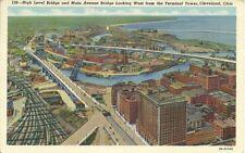 Linen Postcard OH Cleveland New Main Avenue Bridge and high Level Bridge PM 1943