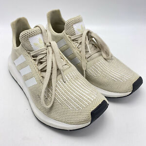 Adidas Originals Sz 8.5 Women's Swift Running Shoes Lace Up Sneakers Beige