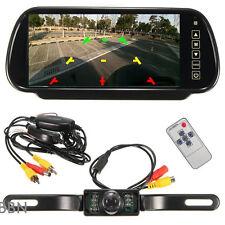 "Wireless Car SUV Rear View 7"" LCD Mirror Monitor + IR Reversing Camera 170° Kit"