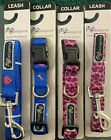 4 NEW DOG LEASHES AND COLLARS 2 + 2 SIZE MEDIUM