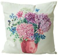 UK Handmade Embroidery Hydrangea Cotton Cushion Cover with Invisible Zipper