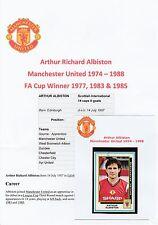 Arthur albiston Manchester United 1974-1988 ORIG firmato FIGURINA PANINI ADESIVO