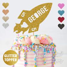 Personalised Custom Spaceship Rocket Boys Girls Kid Children Glitter Cake Topper