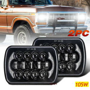 """Pair 105W 5x7"""" 7x6 Led Headlight Halo for Jeep XJ Ford E-150 Chevy Express Truck"""