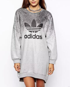 Adidas Grey Shinny Ombre Jumper Boyfriend Oversized Tracksuit Uk 14 M L