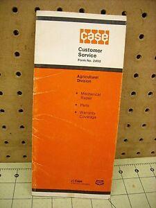 Case IH Warranty Pamphlet Case 1070 Tractor Ser# 8753891 12/31/1974 Ed Osmera