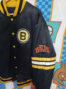 Mens Vintage  Boston Bruins NHL Satin Jacket Wales Patch Size XL Rare 80s
