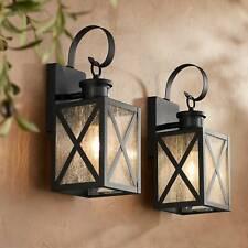 "Outdoor Wall Light Fixtures Set of 2 Black 14 1/2"" Motion Sensor for Porch Patio"
