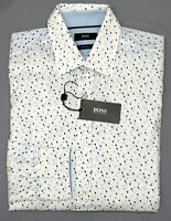 NWT $165 Hugo Boss White Blue Geometric LS Shirt Mens S Lukas_41 Regular Fit NEW