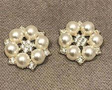 2 LARGE SILVER PEARL FANCY DRESS BUTTONS