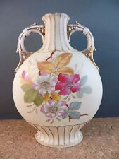 """c1900 Antique Art Nouveau Pottery Vase Urn Pink Floral Double Handled 7.25"""""""