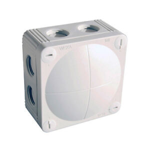 Wiska 60611 White waterproof junction box with 5 pole terminal 85mm x 85mm x 51m