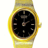 Citizen Gold Tone Lady Unworn Black Easy Read Dial S/Steel Quartz Watch Just $79