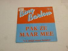 """BING BARLOW - Pak Ze Maar Mee - Dutch 7"""" Juke Box Vinyl Single"""