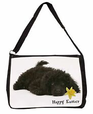 'Happy Easter' Poodle Large Black Laptop Shoulder Bag School/Colle, AD-POD9DA1SB