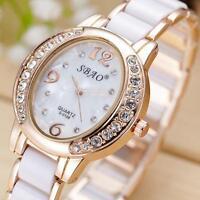Fashion Women Lady's Crystal Analog Quartz Rhinestone Bracelet Dress Wrist Watch