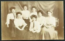 C1920's Portrait Photo Card of a Group of Seven Ladies