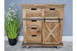 Rustic Storage Cabinet Mango Wood Industrial Cupboard Cabinet 6349