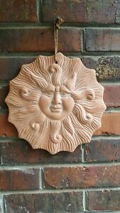 TERRA COTTA POTTERY SMILING SUN BURST WALL DECOR BOHO