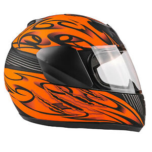 New Matte Orange Kids Motorcycle Helmet Youth Full Face Small Medium Large XL