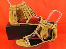 NIB YSL SAINT LAURENT NU PIEDS TAN SUEDE FRINGE STUDDED THONG FLAT SANDALS 40.5