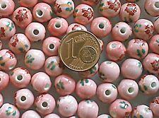 10 perles PORCELAINE rondes 8mm motif fleur ROSE DIY Bijoux Loisirs Déco