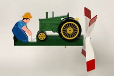 Cranking Green Tractor Hand Painted Wooden Wind Whirligig  29......