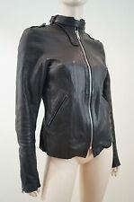 SECRET CIRCUS Black Leather Zip & Stud Neck Fastened Biker Jacket Sz: M