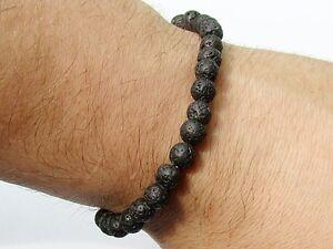 Delicate Men's 6mm gemstone BLACK lava stretchable elasticated 7.5inch bracelet