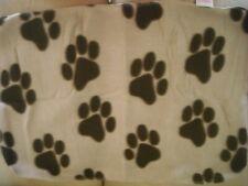 DOG MINI FLEECE BLANKET NEW 40 cm x 59 cm APPROX BROWN  /BEIGE PAWPRINT DESIGN