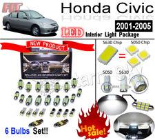 6pcs Xenon White LED Interior Light kit For Honda Civic 2001-2005 &With Sunroof&